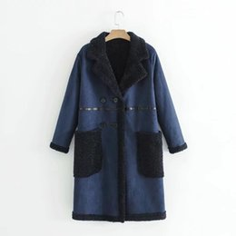 China GTGYFF Fall winter faux suede leather dark blue furry warm outerwear coat for women women's clothing thermal jacket with collar supplier furry clothing suppliers