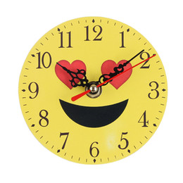 Antique Round Clock UK - Round Bedroom Clock Cartoon Expression Pattern Home Decoration Wall Table Desk Time Displayer 2