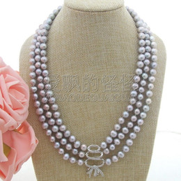 "necklaces pendants Australia - N041308 3Strands 20''-22"" Pearl Necklace CZ Pendant"