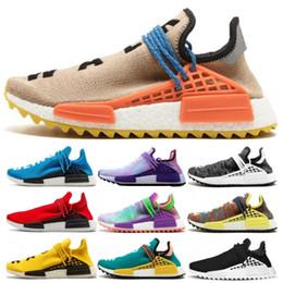Sun body online shopping - New Human Race X HU Pharell Williams Yellow Coer Black Sun Glow Mens Women Running Shoes AAA Quality Sports Walking Sneakers