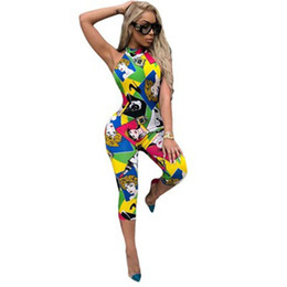 China Women Jumpsuits Fashion personality printing one piece Rompers Sexy backless halter bodysuits club bodycon bandage playsuits cheap jumpsuit women rompers backless suppliers