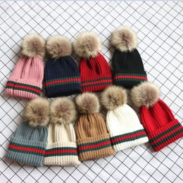 beanie baby balls 2019 - Boutique Baby Kids Warm Knitted Hats Autumn Winter Newest Mother And Children Matching Beanies Teenager Girls Raccoon Wo