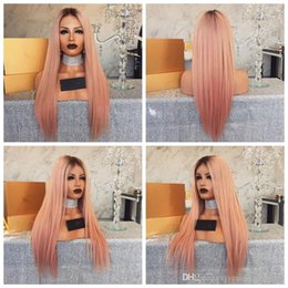 Long dark straight pink wig online shopping - Sexy Middle Part Dark Roots Ombre Pink Color Long Straight Synthetic Lace Front Wigs For Black Women Glueless Heat Resistant Fiber Hair Wigs