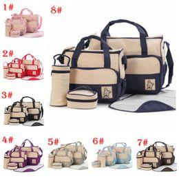 Nappy Bag Tote NZ - 5pcs lot Mummy Multifunctional Bag Diaper Separate Shoulder Bag Maternity Nappy Handbag Baby Tote Organizer Waterproof Bottle Storage Bags