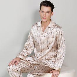 648702e46d High-Grade Real Silk Men Pajamas Fashion Printed Sexy Satin Silk Long-Sleeve  Pajama Pants Sets Comfortable Soft Lounge Set T9015