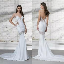 $enCountryForm.capitalKeyWord NZ - Pnina Tornai 2018 Mermaid Wedding Dress Sexy Spaghetti Lace Sequins Backless Bridal Gowns Illusion Wedding Dresses