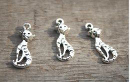 TibeTan silver caT pendanT online shopping - 30pcs Cat Charms Antique Tibetan Silver lovely cats pussy Charms Pendant x9mm