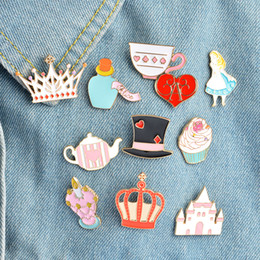 $enCountryForm.capitalKeyWord NZ - Magic Hat Castle Tea Cup Teapot brooch Crown Love heart Cartoon Cat Wonderland Enamel Pin Alice Brooches Crown Metal Pin wholesale drop ship