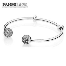 Chinese  FAHMI The Latest MOMENTS 925 Sterling Silver Double-Headed Beads Pattern Bangle DIY A Bracelet Charms Birthday Gift 596438CZ manufacturers