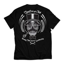 man pipe NZ - gentlemans club hipster moustache pipe skull retro dtg mens t shirt tees Funny free shipping Unisex tee