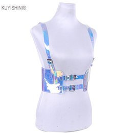 Pvc cages online shopping - New Punk Harajuku Back Elastic Cummerbund Vinyl PVC Bondage Cage Sculpting Harness Waist Belt Straps Suspenders Belts