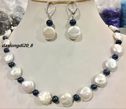 $enCountryForm.capitalKeyWord Australia - Natural 12-13MM White Coin Pearl & 5-6MM black pearl necklace earring sets
