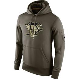 Ice Hockey Hoodie Sweatshirt UK - Pittsburgh Sweatshirt Penguins Olive Salute To Service KO Performance ice hockey Hoodie men women