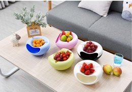 Seed box wholeSale online shopping - Portable Environment Double Layer Plastic Lazy Fruit Bowl Snacks Plate Melon Seeds Dry Fruit Storage Box