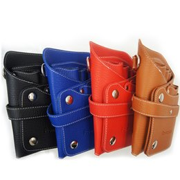 Leather Belt Holster Case NZ - hair scissors bag Hair Style Tools Leather Barber Scissor Bag Salon Hairdressing Holster Pouch Case with Waist Shoulder Belt Peluqueria