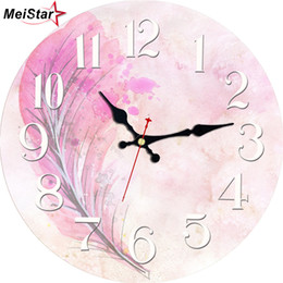 Discount wooden art decor MEISTAR Vintage Wooden Pink Design Clocks Art Watches Silent Cafe Office Kitchen Clock Home Decor Retro Large Wall Clock