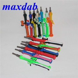 oil dab straw 2019 - Mini Silicone Pipes Silicone Nectar Collector with GR2 Titanium Nail 10mm Joints Oil Rig Concentrate Honey Dab Straw Min