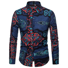 Discount clothes japan - Autumn Winter Men's Clothes Ou Code Flower Floral Long-Sleeved Shirts Men Pointed Collar Lapel Japan Style Vintage