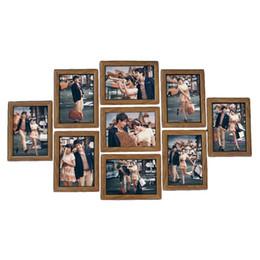 9Pcs Рамки для фото Рамки для фоторамки для фотомонтажа Дерево 7Inch Креативная свадебная фотосъемка Семейная фоторамка Стены Домашние декорации Новая