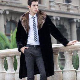 Men's Clothing S-6xl Plus Size Winter New Fur Overcoat Mens Clothing Imitation Fur Design Long Trench Outerwear Male Bar Singer Stage Costumes
