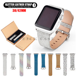 watches glitter Canada - Watch Bands Luxury Glitter Leather Watch Bands 38mm 42mm iWatch Replacement Straps For Apple Watch Series 1 Series 2 Series 3