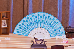 pole dance party Canada - FEIS new fashion peacock sequined dancing fold fan with white pole wedding favor festival gifts easy taken