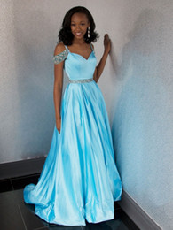 b601c99be67 Gorgeous Off The Shoulder Prom Dresses Spaghetti Straps Crystal Beaded  Satin Floor Length Backless Ice Blue Party Dresses Sweep Train