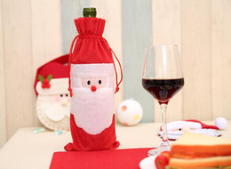 Christmas Tables NZ - Christmas stockings 32*13cm Santa Claus Red Wine Bottle Cover Bags Christmas Table bottle bag wedding Party Supplies