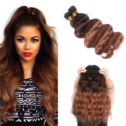 Two Colored Hair Extensions NZ - Malaysian Ombre 4 30# Body Wave Hair Bundles 100% Colored Human Hair Weave Two Tone Dark Brown Human Hair Extension
