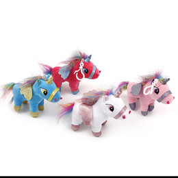 Pink 15cm Unicorn Stuffed Animal Dolls Cartoon Plush Toy Charm Keychain For Kid Children Baby Birthday Christmas Gift 6yc Ww