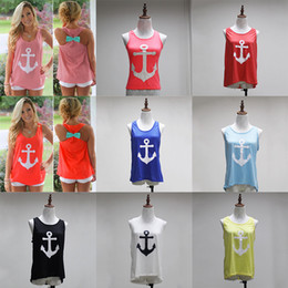 Girls Anchor Shirt Canada - Anchor Print Tank women T-shirts 2018 Summer Women girls sleeveless Cotton Vest Maternity Tops tees 15 colors C3888