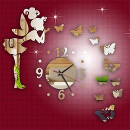$enCountryForm.capitalKeyWord NZ - Hot Modern Butterfly Fairy Clock DIY 3D Art Mirror Wall Sticker Kids Room Bedroom Home Decor For Wall Decoration Stickers