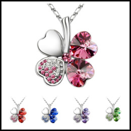 4bc6db7f5 SwarovSki animal pendantS online shopping - Luxury Colors Clover Crystal  Pendants Sliver Plated Chain Swarovski Amethyst