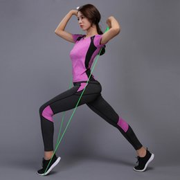 shorts tights set NZ - Women Yoga Set Reflective Safety Gym Fitness Clothes Tennis Shirt + Pants Running Tights Jogging Workout Yoga Leggings Sport Suit Sportswear