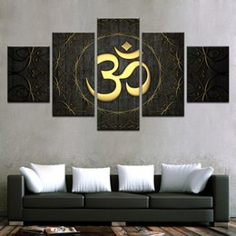 $enCountryForm.capitalKeyWord NZ - 5 Piece Modern Canvas Wall Artwork Home Decoration For Living Room HD Prints Poster Buddha OM Yoga Painting Golden Symbol Pictures