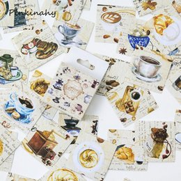 diary stickers labels 2018 - 45pcs box Kawaii Cute Coffee Workshop Paper Decoration Stationery Stickers DIY Diary Planner Label Stickers Student Supp