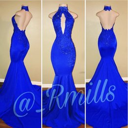 Wholesale 2018 Sexy Halter Royal Blue Mermaid Prom Dresses Open Back Sleeveless Lace Appliques Sweep Train Evening Gowns Vestidos De Festa BA7768