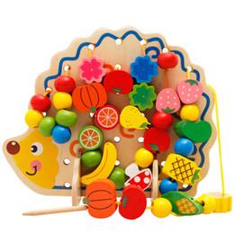 Kids Blocks Wholesale Australia - Wooden Intelligence Toys Hedgehog Fruit String Of Beads Blocks Child Hand Eye Coordination Fine Skills Development Educational Toy 20 8bm Z