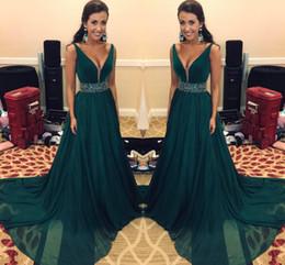 cbcae7c06e Hunter verde vestidos de baile largos con fajines de lentejuelas gasa  vestidos formales desgaste de la tarde una línea Desp cuello en V vestidos  de cóctel ...