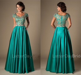 orange girls floor length fall formals NZ - Turquoise Gold Appliques Modest Prom Dresses With Cap Sleeves Long A-line Floor Length College Girls Classic Formal Evening Wear Gowns