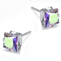 Fantastic Earrings Australia - Fantastic 12 Colors Crystal Rhinestone AAA Zircon Stud 6MM Four-claw Square Diamond Earrings Sliver Plated for Women Jewelry