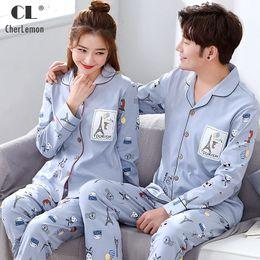 Couples Pajamas Australia - CherLemon 2018 Cardigan Knitted Cotton Couple  Pajamas Spring Autumn Long Sleeve Sleepwear 68d4e3425