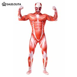 Male Lycra Suit Australia - Attack On Titan Male Cosplay Costumes Muscle Muscular Suit Attack On Titan Zentai Lycra Full Body Bodysuit