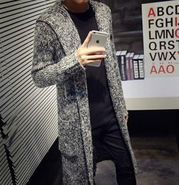 Autumn Winter Loose Long Mens Cardigans Sweaters New Fashion Big Size  Jumpers Mens Hooded Sueter Knit Sweater Jersey Sudaderas 8cc8c6629