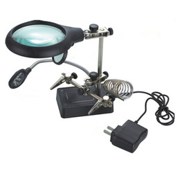 Magnifier desktop online shopping - Multifunctional LED Light Magnifier Glass Desk Lamp Helping Hand Repair Clamp Clip Stand Desktop Magnifying Tool