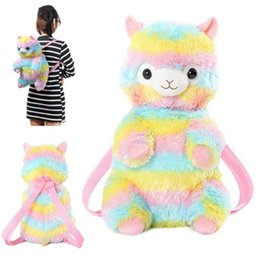 Wholesale Cute Rainbow Alpaca Doll Backpack Soft Plush Toddler Backpack Children Kids Kawaii Alpacasso School Storage Bag OOA5584