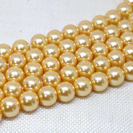 Mother Pearl Sea Canada - 12mm gold sea mother-of,shell pearl Loose beads DIY 15inch