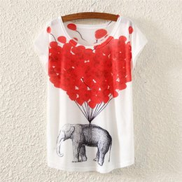 Short Balloon Tops Australia - 2016 Summer Europe Style T Shirt Women T-Shirt Red Balloon Elephant Print Batwing Short Sleeve Women Tops Tee Femme Casual S1857
