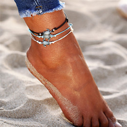 $enCountryForm.capitalKeyWord Australia - Vintage Multiple Layers Anklet Bohemian Retro Turtle Rope Ankle Bracelet Women Barefoot Sandals Beach Animal Foot Jewelry