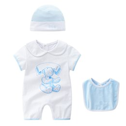 5t romper online shopping - romper Hot selling new arrivals fall baby kids climbing romper high quality cotton short sleeve cartoon printed summer romper hat bibs